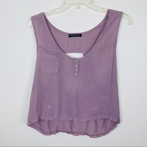 Brandy Melville Pocket Henley Sleeveless Shirt Top